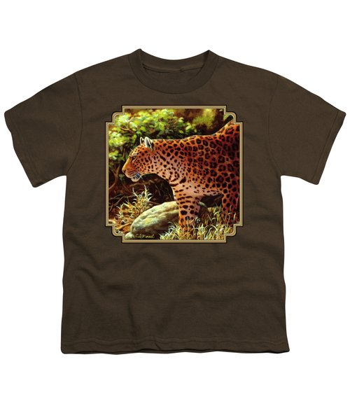 Leopard Painting - On The Prowl Youth T-Shirt by Crista Forest