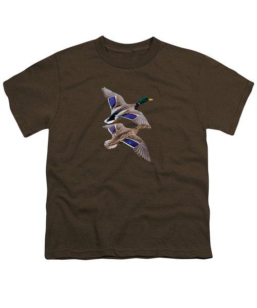 Mallards In Flight  Youth T-Shirt by Jan M Holden