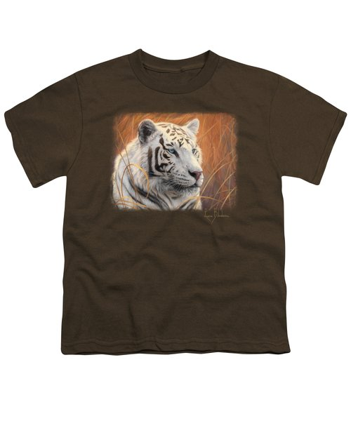 Portrait White Tiger 2 Youth T-Shirt by Lucie Bilodeau