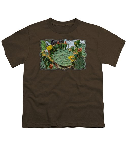 Prickly Pear Flowers Op46 Youth T-Shirt by Mark Myhaver
