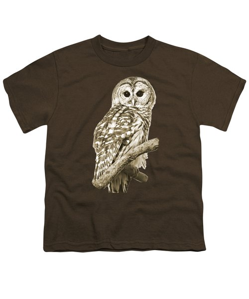 Sepia Owl Youth T-Shirt by Christina Rollo