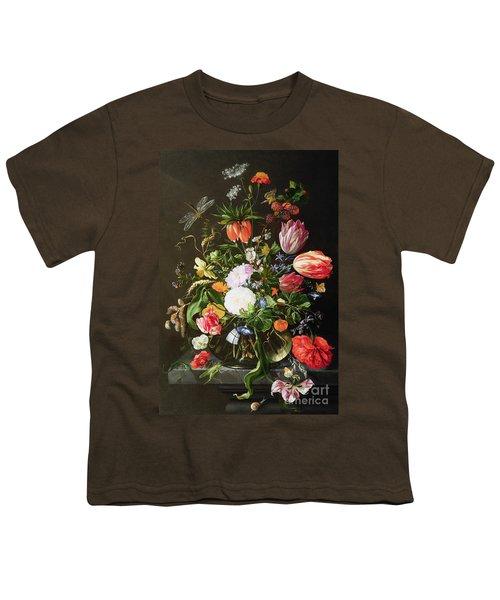 Still Life Of Flowers Youth T-Shirt by Jan Davidsz de Heem