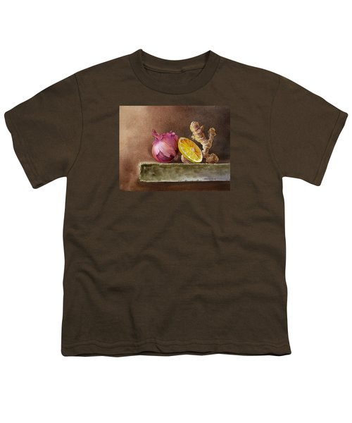 Still Life With Onion Lemon And Ginger Youth T-Shirt by Irina Sztukowski