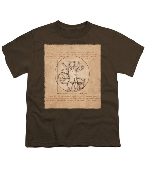Vitruvian Squirrel Youth T-Shirt by Katherine Nutt