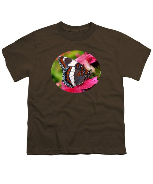 White Admiral Butterfly On Pink Flowers Youth T-Shirt by Christina Rollo