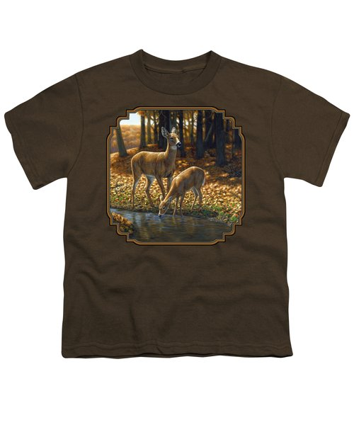 Whitetail Deer - Autumn Innocence 1 Youth T-Shirt by Crista Forest