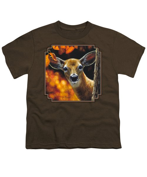 Whitetail Deer - Surprise Youth T-Shirt by Crista Forest