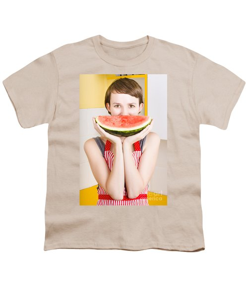 Funny Woman With Juicy Fruit Smile Youth T-Shirt by Jorgo Photography - Wall Art Gallery