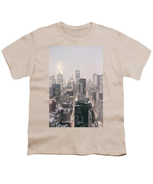 New York City - Snow Covered Skyline Youth T-Shirt by Vivienne Gucwa