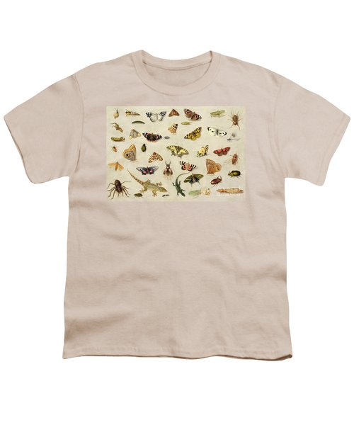 A Study Of Insects Youth T-Shirt by Jan Van Kessel