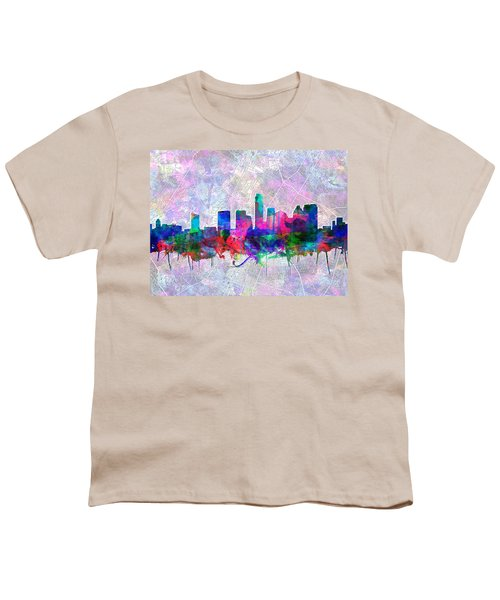 Austin Texas Skyline Watercolor 2 Youth T-Shirt by Bekim Art