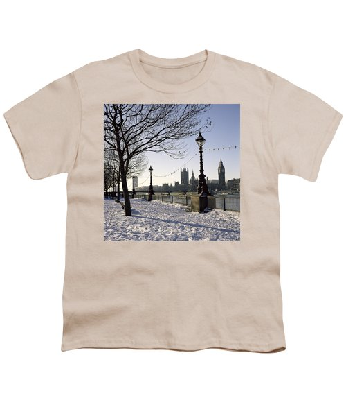 Big Ben Westminster Abbey And Houses Of Parliament In The Snow Youth T-Shirt by Robert Hallmann