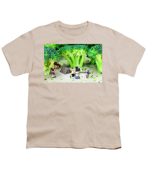 Camping Among Broccoli Jungles Miniature Art Youth T-Shirt by Paul Ge