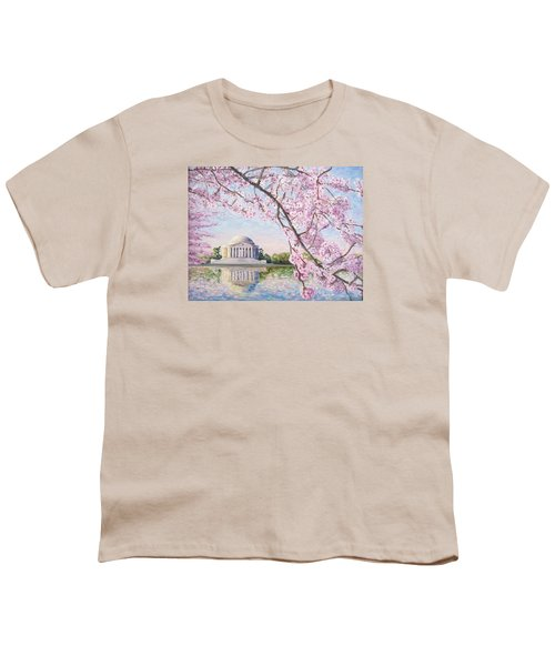 Jefferson Memorial Cherry Blossoms Youth T-Shirt by Patty Kay Hall
