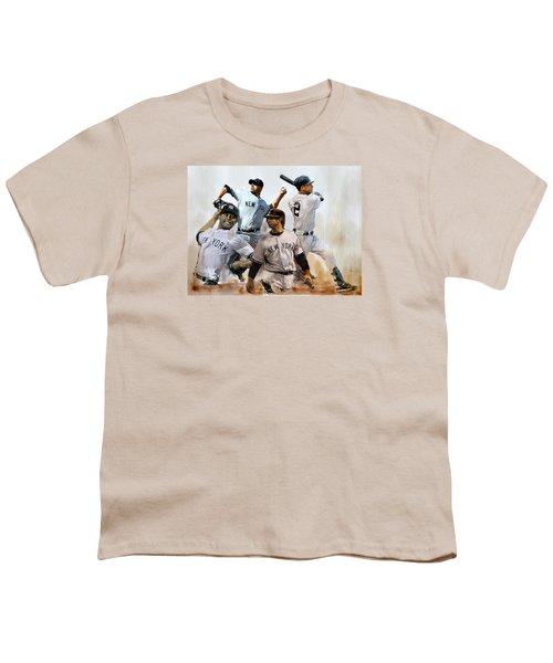 Core  Derek Jeter Mariano Rivera  Andy Pettitte Jorge Posada Youth T-Shirt by Iconic Images Art Gallery David Pucciarelli