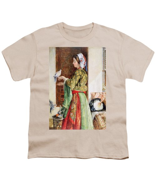 Girl With Two Caged Doves, Cairo, 1864 Youth T-Shirt by John Frederick Lewis