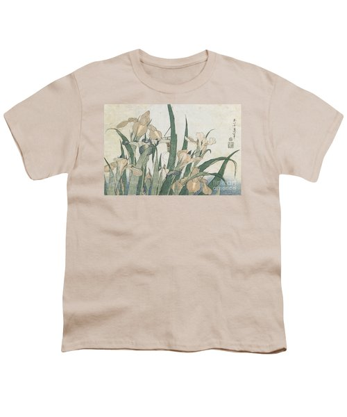 Iris Flowers And Grasshopper Youth T-Shirt by Hokusai