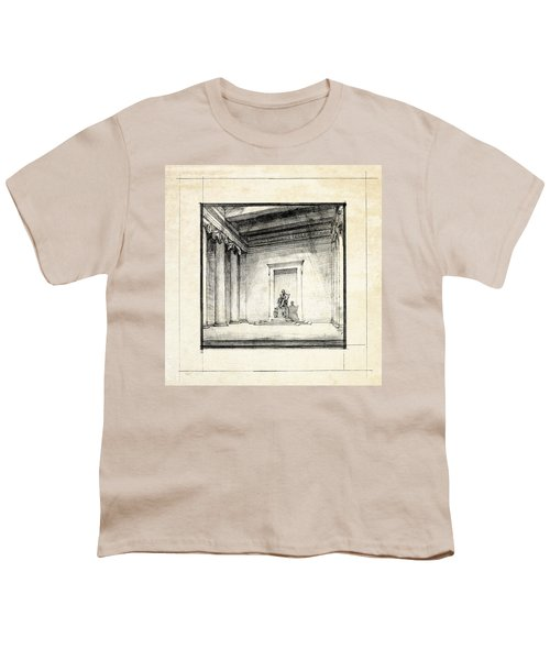 Lincoln Memorial Sketch IIi Youth T-Shirt by Gary Bodnar