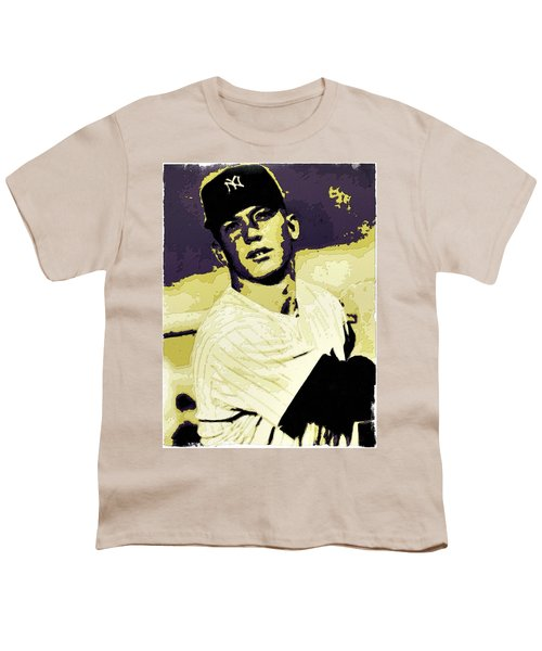 Mickey Mantle Poster Art Youth T-Shirt by Florian Rodarte