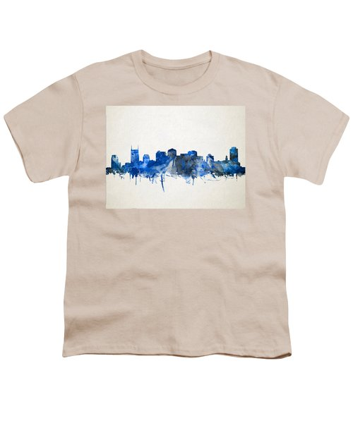 Nashville Skyline Watercolor 11 Youth T-Shirt by Bekim Art