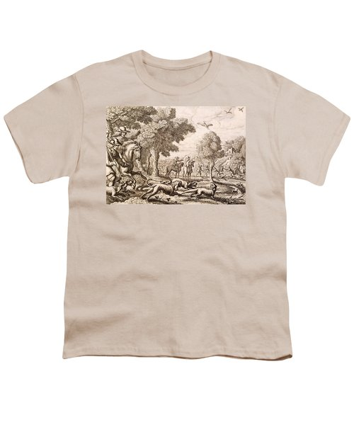 Otter Hunting By A River, Engraved Youth T-Shirt by Francis Barlow