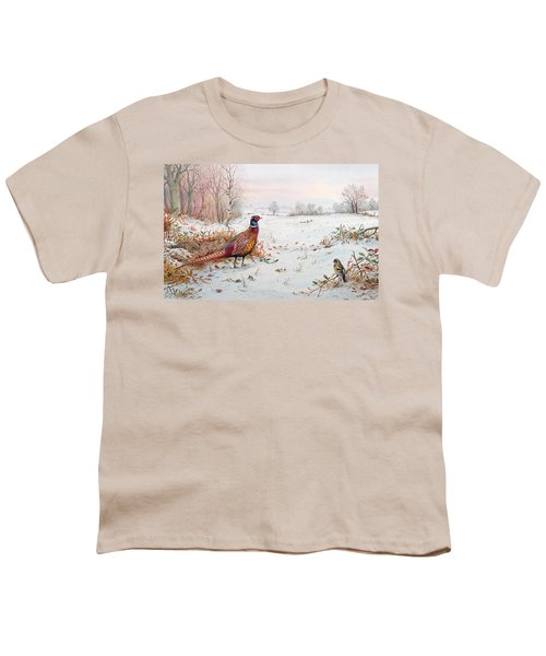 Pheasant And Bramblefinch In The Snow Youth T-Shirt by Carl Donner