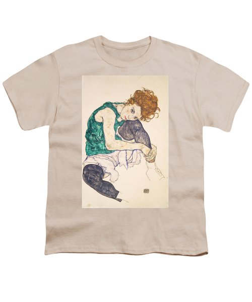 Seated Woman With Legs Drawn Up. Adele Herms Youth T-Shirt by Egon Schiele
