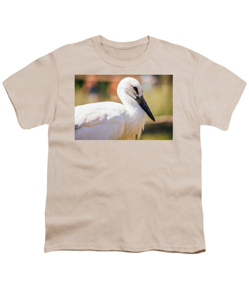 Young Stork Portrait Youth T-Shirt by Pati Photography