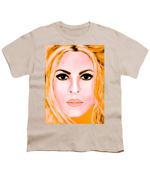 Gold Shakira Youth T-Shirt by Mathieu Lalonde