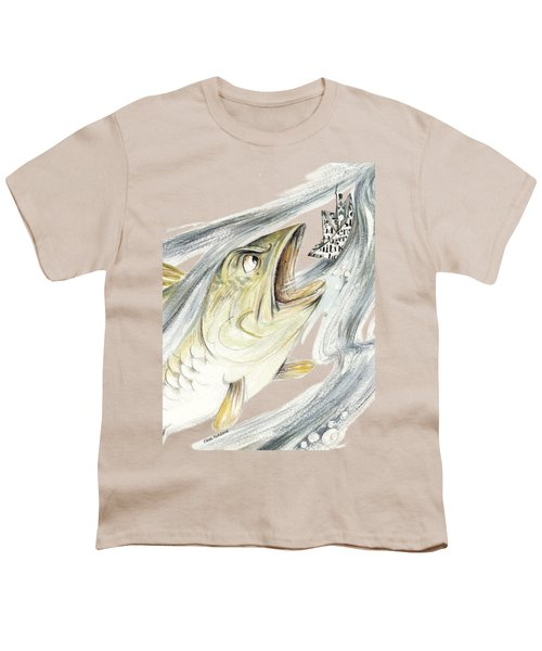 Angry Fish Ready To Swallow Tin Soldier's Paper Boat - Horizontal - Fairy Tale Illustration Fragment Youth T-Shirt by Elena Abdulaeva