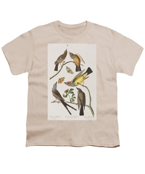 Arkansaw Flycatcher Swallow-tailed Flycatcher Says Flycatcher Youth T-Shirt by John James Audubon