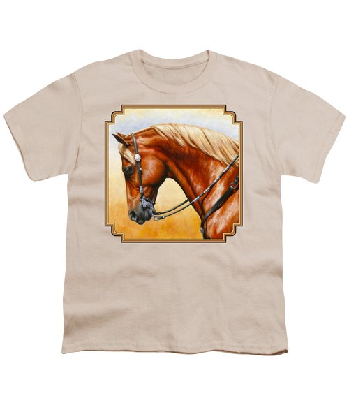 Precision - Horse Painting Youth T-Shirt by Crista Forest