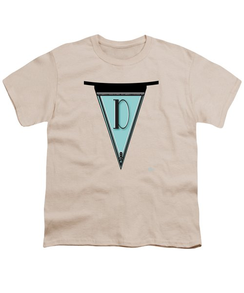 Pennant Deco Blues Banner Initial Letter D Youth T-Shirt by Cecely Bloom