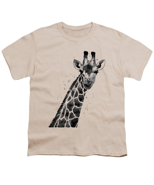 Giraffe In Black And White Youth T-Shirt by Hailey E Herrera