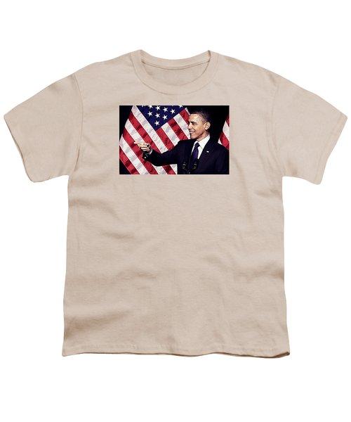 Barack Obama Youth T-Shirt by Iguanna Espinosa