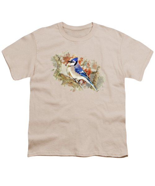 Beautiful Blue Jay - Watercolor Art Youth T-Shirt by Christina Rollo