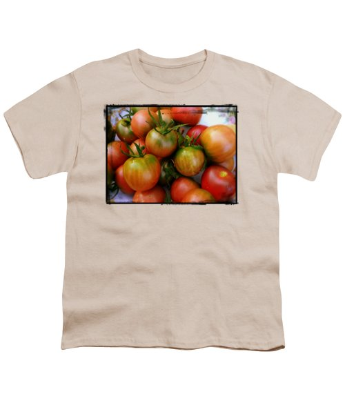 Bowl Of Heirloom Tomatoes Youth T-Shirt by Kathy Barney