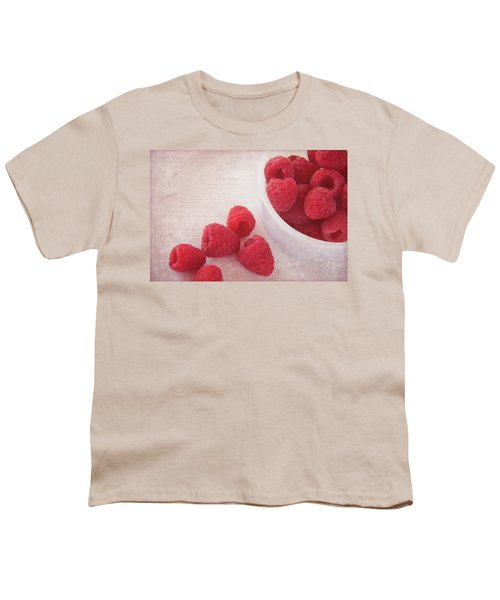 Bowl Of Red Raspberries Youth T-Shirt by Cindi Ressler