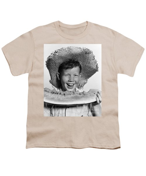 Boy Eating Watermelon, C.1940-50s Youth T-Shirt by H. Armstrong Roberts/ClassicStock