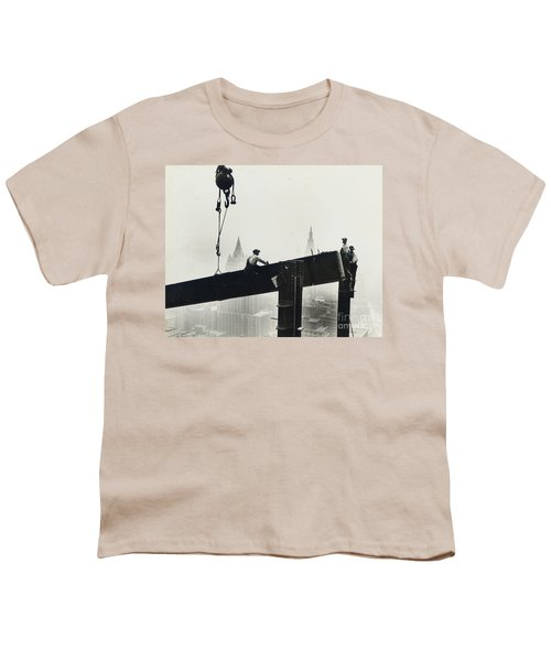 Building The Empire State Building Youth T-Shirt by LW Hine