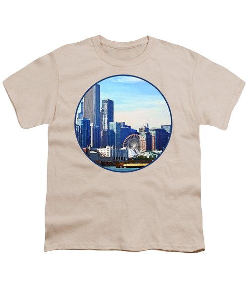 Chicago Il - Chicago Skyline And Navy Pier Youth T-Shirt by Susan Savad