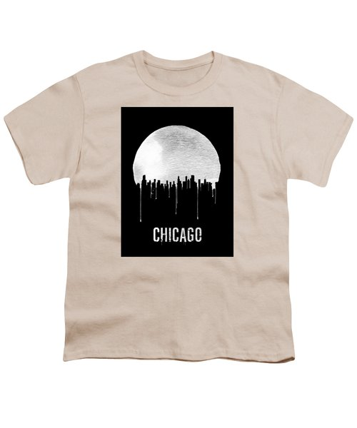 Chicago Skyline Black Youth T-Shirt by Naxart Studio