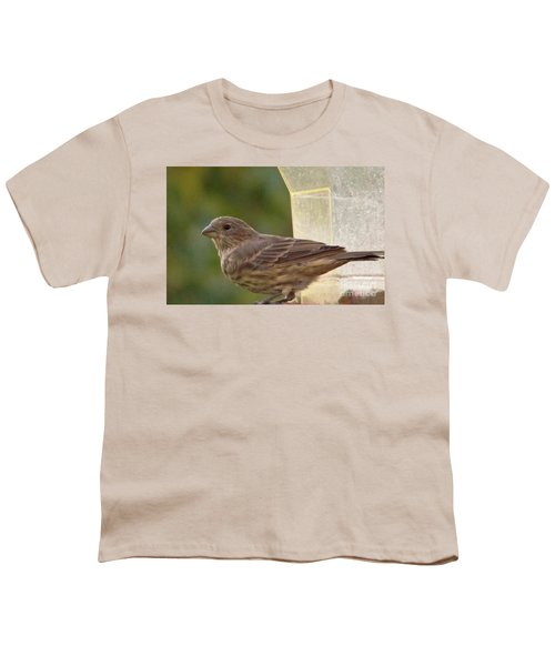 Crossbill Female Portrait      September    Indiana Youth T-Shirt by Rory Cubel