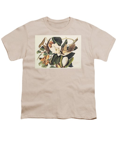 Cuckoo On Magnolia Grandiflora Youth T-Shirt by John James Audubon