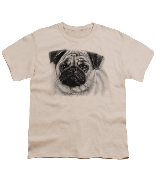 Cute Pug Youth T-Shirt by Olga Shvartsur