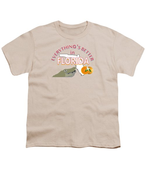 Everything's Better In Florida Youth T-Shirt by Pharris Art
