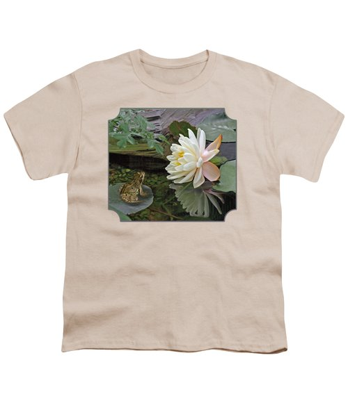 Frog In Awe Of White Water Lily Youth T-Shirt by Gill Billington