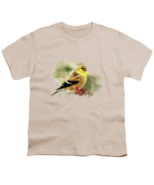 Goldfinch Watercolor Art Youth T-Shirt by Christina Rollo