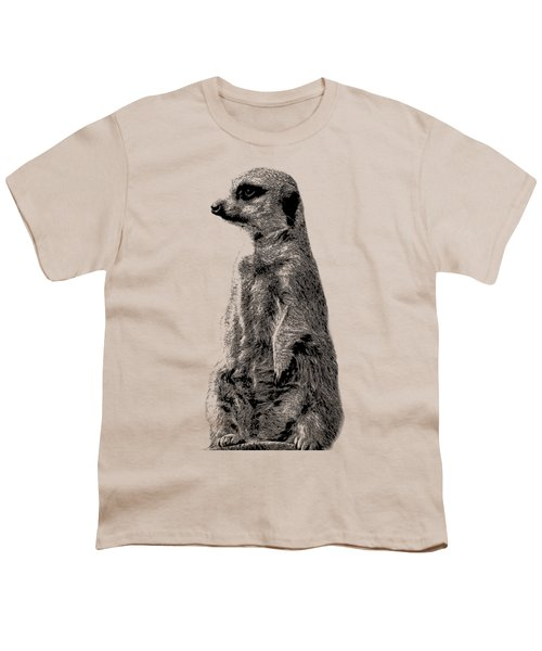Meerkat Etching Youth T-Shirt by Greg Noblin