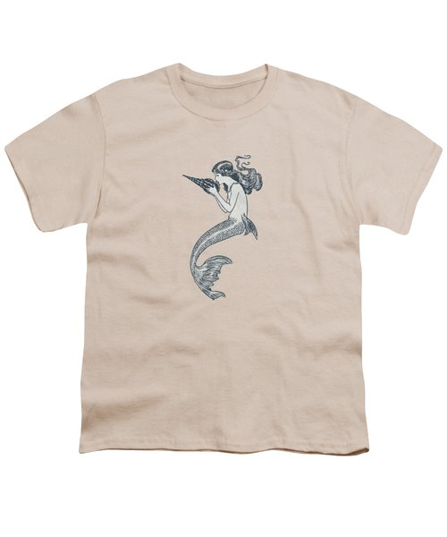 Mermaid - Nautical Design Youth T-Shirt by World Art Prints And Designs